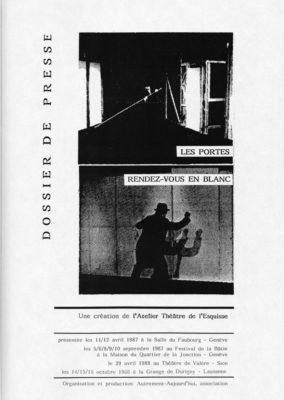 Les Portes et Rendez-Vous en blanc, Dossier Presse, Théâtre de l'Esquisse, Genève