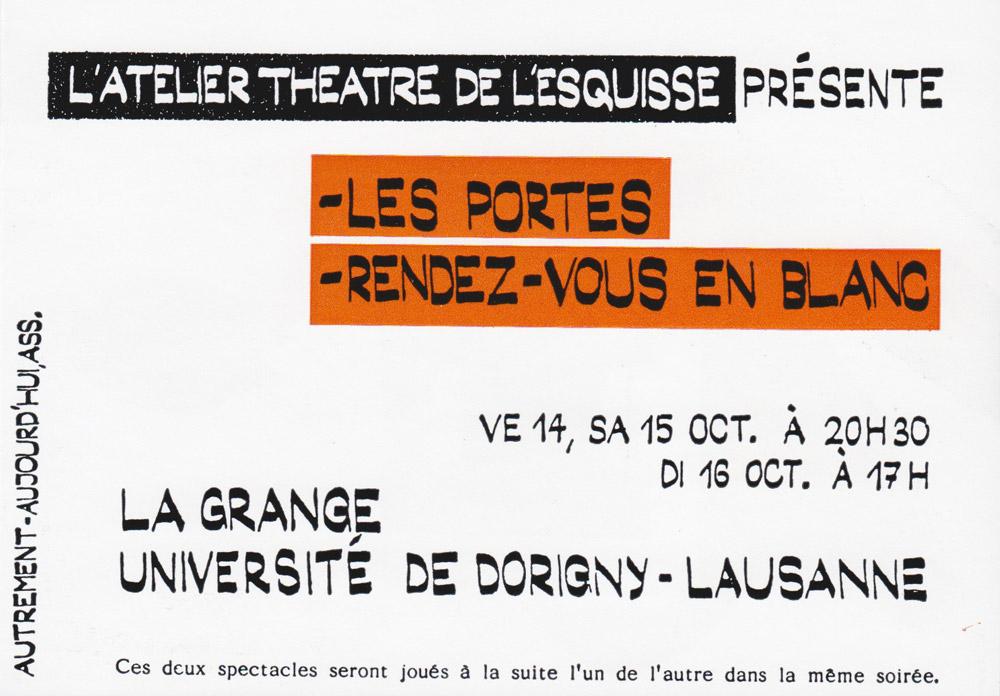 Les Portes, Flyer, Théâtre del'Esquisse, Genève
