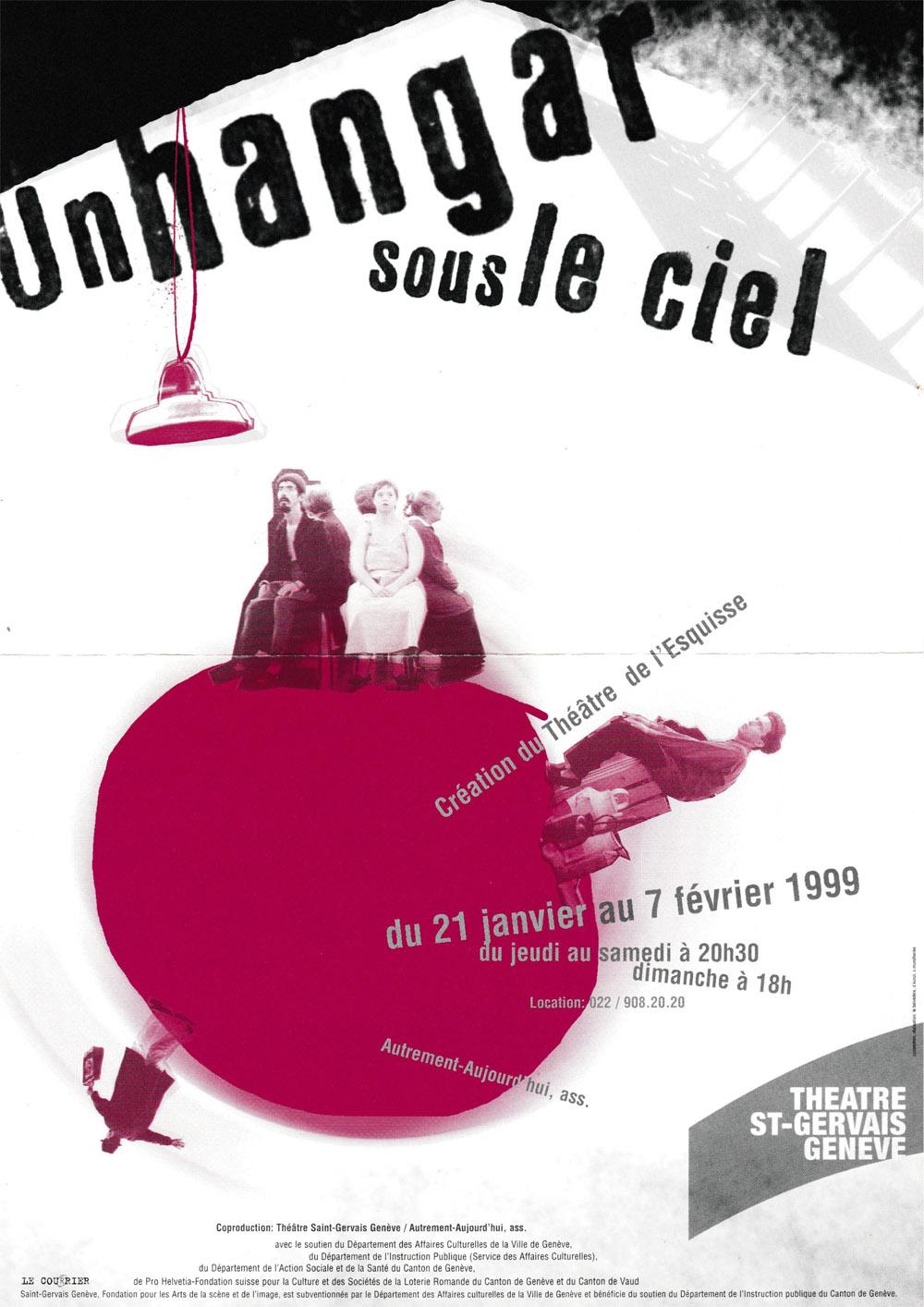 Flyer, Un Hangar sous le ciel, Théâtre de l'esquisse, Genève